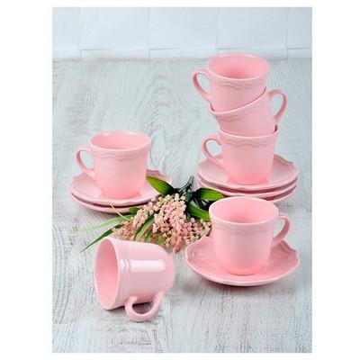 Keramika Takım Cay Romeo 12 Parca Pembe Acık 551 A Çay Seti