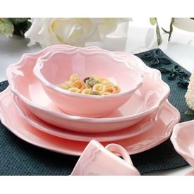 Keramika 6 Kısılık 24 Parca Romeo  Acık Pembe Yemek Takımı