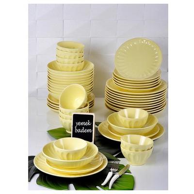 Keramika Takım Yemek Badem 48 Parca Sarı 12 Kısılık Kahvaltı Takımı