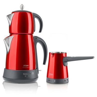Arzum AR3008 Ehlikeyif Delux Çay Kahve Makinesi Seti - Nar