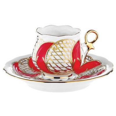 Kütahya Porselen Kation Kahve Fincanı Tabaklı Kırmızı Çay Seti
