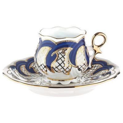 Kütahya Porselen Kation Kahve Fincanı Tabaklı Lacivert Çay Seti