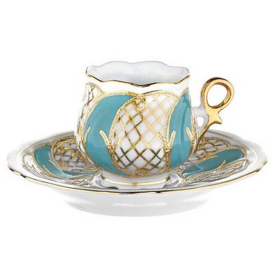 Kütahya Porselen Kation Kahve Fincanı Tabaklı Turkuaz Çay Seti