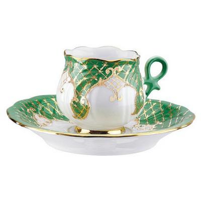 Kütahya Porselen Kation Kahve Fincanı Tabaklı Yeşil Çay Seti