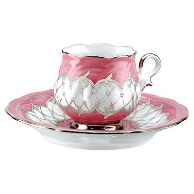 Kütahya Porselen Kation Kahve Fincanı Tabaklı Pembe Çay Seti