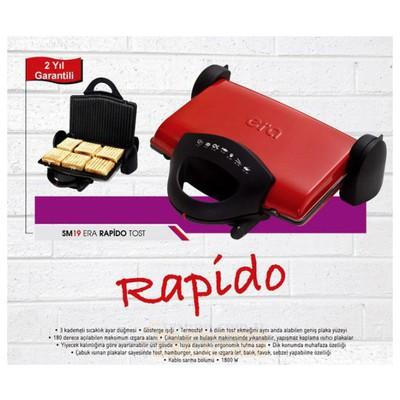 ERA SM-19 Rapido Izgaralı Tost Makinesi - Kırmızı