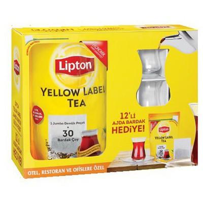 Lipton Yellow Label Demlik  + 12 Adet Ajda Bardak Hediyeli Poşet Çay