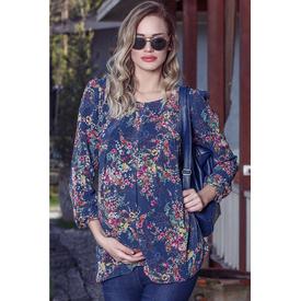 GöR&SIN Görsin Çiçek Desen Şifon Hamile Bluz Lacivert L Gömlek, Bluz, Tunik