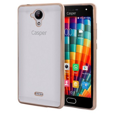 Microsonic Casper Via E1 Kılıf Flexi Delux Gold Cep Telefonu Kılıfı