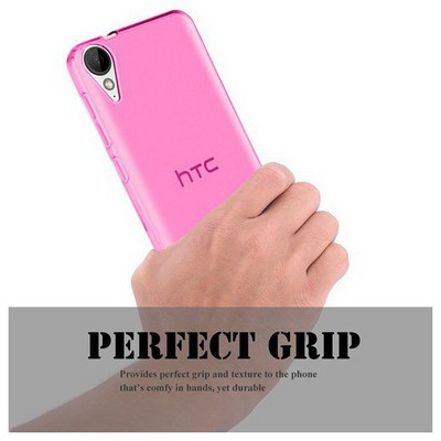 Microsonic Htc Desire 825 Kılıf Transparent Soft Pembe Cep Telefonu Kılıfı