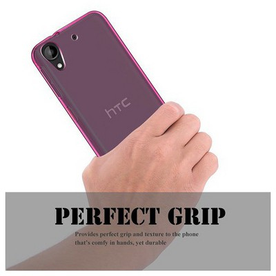 Microsonic Htc Desire 530 Kılıf Transparent Soft Pembe Cep Telefonu Kılıfı