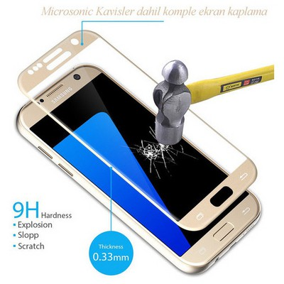 Microsonic Samsung Galaxy S7 3d Temperli Cam Kenarlar Dahil Komple Ekran Koruyucu Kırılmaz Film Siyah Ekran Koruyucu Film