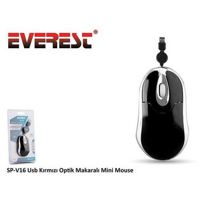 Everest SP-V16S SP-V16 Usb Siyah Optik Makaralı Mini Mouse