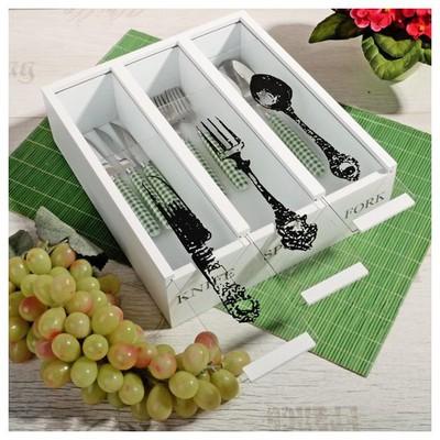 İhouse 57516 Dekoratif Çatal Kaşık Kutusu-beyaz Kaşıklık