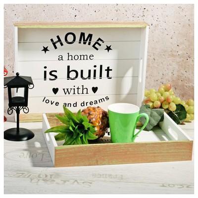 İhouse 57536 Dekoratif 2 Li Ahşap Tepsi-beyaz Küçük Mutfak Gereçleri