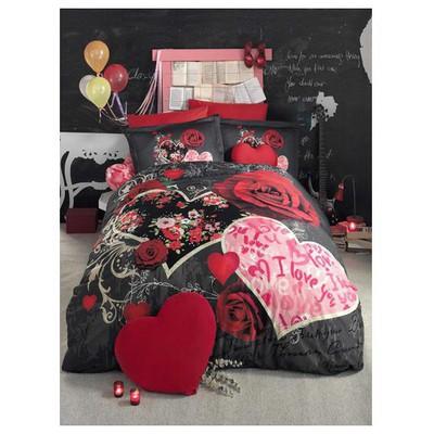 Clasy Love In Rose Çift Kisilik Digital 3d Baskı Pamuk Saten Nevresim Takımı Kırmızı Ev Tekstili