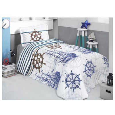 Clasy Marine Yatak Örtüsü Tek Kisilik Mavi Yatak Örtüleri