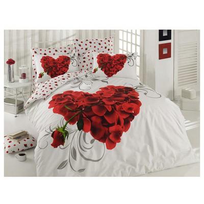 Örtüm Valentine Ranforce Nevresim Takımı Cift Kisilik Beyaz Ev Tekstili