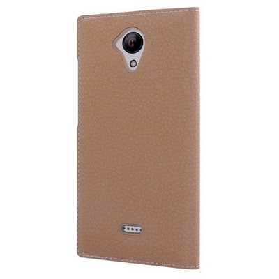 Microsonic Casper Via E1 Kılıf Dual View Gizli Mıknatıslı Gold Cep Telefonu Kılıfı