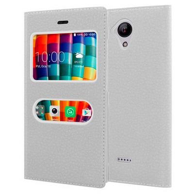 Microsonic Casper Via E1 Kılıf Dual View Gizli Mıknatıslı Beyaz Cep Telefonu Kılıfı