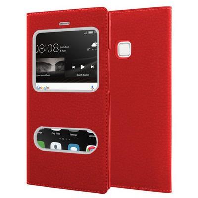 Microsonic Huawei P9 Lite Kılıf Dual View Gizli Mıknatıslı Kırmızı Cep Telefonu Kılıfı