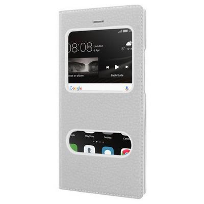 Microsonic Huawei P9 Lite Kılıf Dual View Gizli Mıknatıslı Beyaz Cep Telefonu Kılıfı