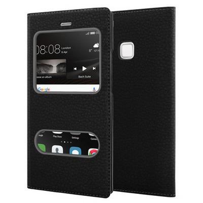 Microsonic Huawei P9 Lite Kılıf Dual View Gizli Mıknatıslı Siyah Cep Telefonu Kılıfı