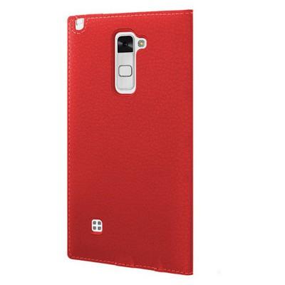Microsonic Lg Stylus 2 Kılıf Gizli Mıknatıslı View Delux Kırmızı Cep Telefonu Kılıfı