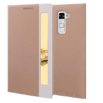 Microsonic Lg Stylus 2 Kılıf Gizli Mıknatıslı View Delux Gold Cep Telefonu Kılıfı