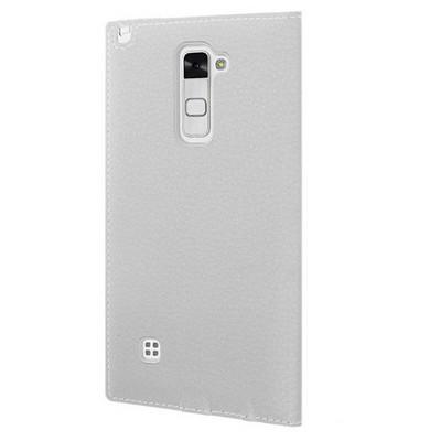 Microsonic Lg Stylus 2 Kılıf Gizli Mıknatıslı View Delux Beyaz Cep Telefonu Kılıfı