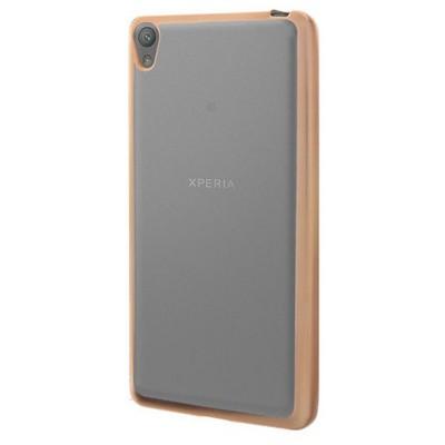 Microsonic Sony Xperia E5 Kılıf Flexi Delux Gold Cep Telefonu Kılıfı