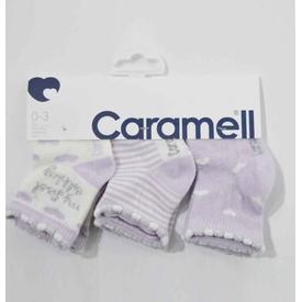 Caramell 2831 Bebek 3lü Soket Çorap Lila 0-3 Ay (56-62 Cm) Kız Bebek Çamaşırı