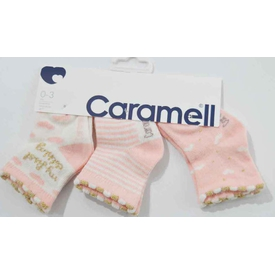 Caramell 2831 Bebek 3lü Soket Çorap Somon 0-3 Ay (56-62 Cm) Kız Bebek Çamaşırı