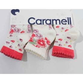 Caramell 2830 Bebek 3lü Soket Çorap Nar Çiceği 0-3 Ay (56-62 Cm) Kız Bebek Çamaşırı