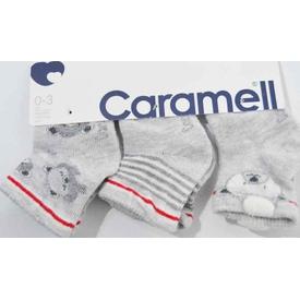 Caramell 2827 Bebek 3lü Soket Çorap Gri 0-3 Ay (56-62 Cm) Erkek Bebek Çamaşırı