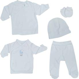 Caramell 2587 Bebek Hastane Çıkış Seti Beyaz 00 Ay (prematüre) Erkek Bebek Hastane Çıkışı