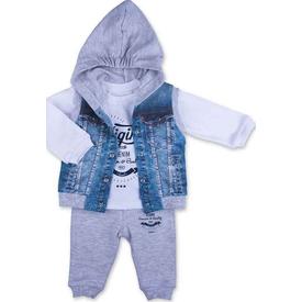 Baby Center S94104 3'lü Kot Takım Gri 9-12 Ay (74-80 Cm) Erkek Bebek Takım