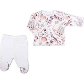 Baby Center S83931 Paris 2'li Önden Çıtçıtlı Patikli Takım Ekru 3-6 Ay (62-68 Cm) Erkek Bebek Takım