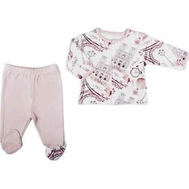 Baby Center S83931 Paris 2'li Önden Çıtçıtlı Patikli Takım Somon 0-3 Ay (56-62 Cm) Erkek Bebek Takım