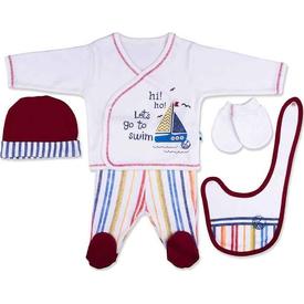 Baby Center S92711 Yelkenli 5'li Zıbın Takım Bordo Erkek Bebek Body