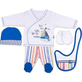 Baby Center S92711 Yelkenli 5'li Zıbın Takım Sax Erkek Bebek Body