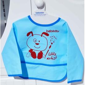Bebedor 6288 Kollu Boyama Önlüğü Bordo-mavi Bebek Besleme