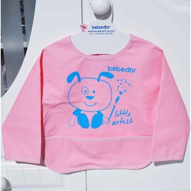 Bebedor 6288 Kollu Boyama Önlüğü Pembe-mavi Mama Önlüğü