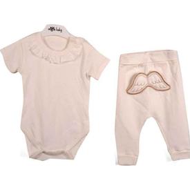 Angels Baby Melek Kanatlı Body Ve Şalvar Kız Bebek Takımı Krem 6-9 Ay (68-74 Cm) Erkek Bebek Takım
