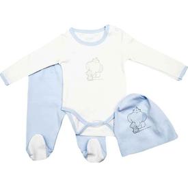 Premom 311 3lü Bebek Takımı Mavi 3-6 Ay (62-68 Cm) Erkek Bebek Takım