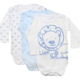 Premom 1082ya Hayvanlar Alemi Erkek Bebek 3'lü Çıtçıtlı Body Mavi 9-12 Ay (74-80 Cm) Erkek Bebek Body