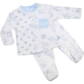 Premom 1072a Hayvanlar Alemi Bebek Pijama Takımı Beyaz 6-9 Ay (68-74 Cm) Erkek Bebek Pijaması