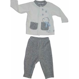 Premom 1015-1 Yıldızlı Ayıcık 2li Kadife Bebek Takımı Grimelanj 6-9 Ay (68-74 Cm) Erkek Bebek Takım