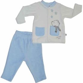 Premom 1015-1 Yıldızlı Ayıcık 2li Kadife Bebek Takımı Mavi 3-6 Ay (62-68 Cm) Erkek Bebek Takım