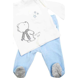 Premom 1023a Yıldıza Bakan Ayıcık Erkek Bebek 2'li Takım Mavi 3-6 Ay (62-68 Cm) Erkek Bebek Takım